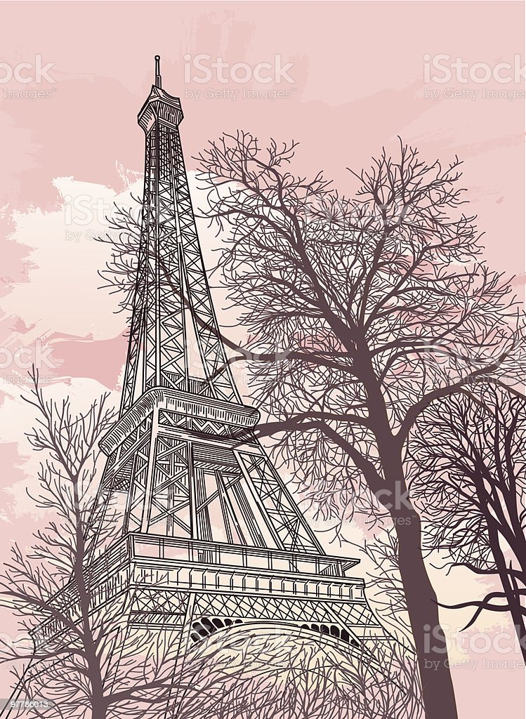 Drawing of the Eiffel Tower with a pink sky and trees royalty-free stock vector art