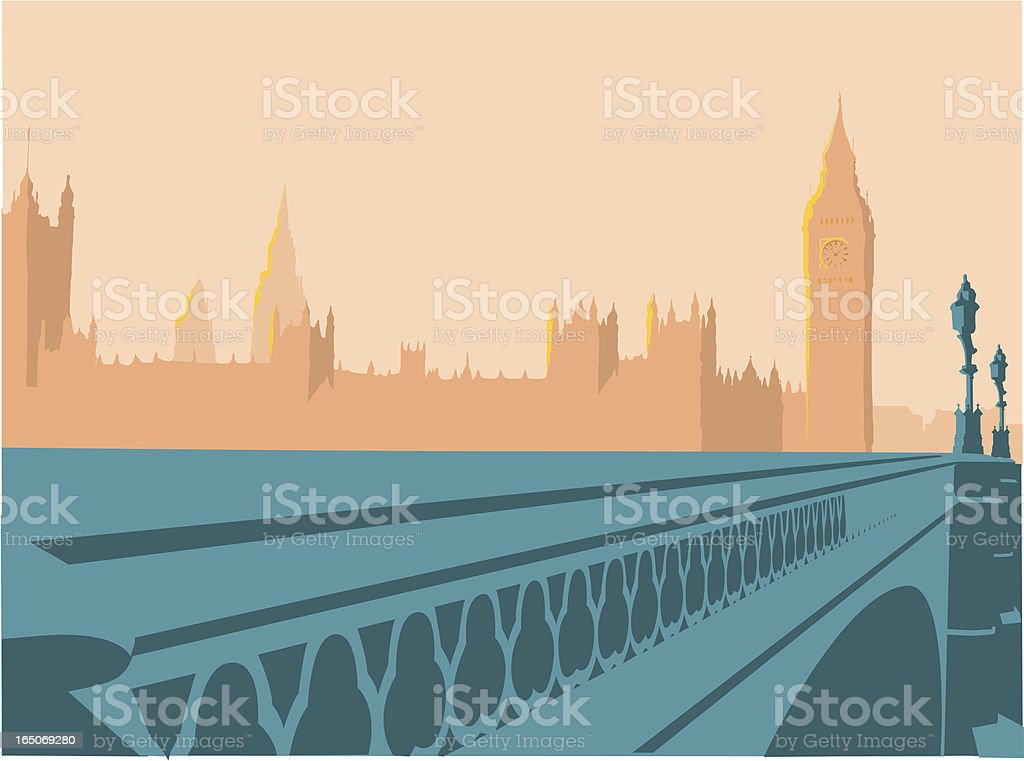 Drawing of the Houses of Parliament, London, England vector art illustration
