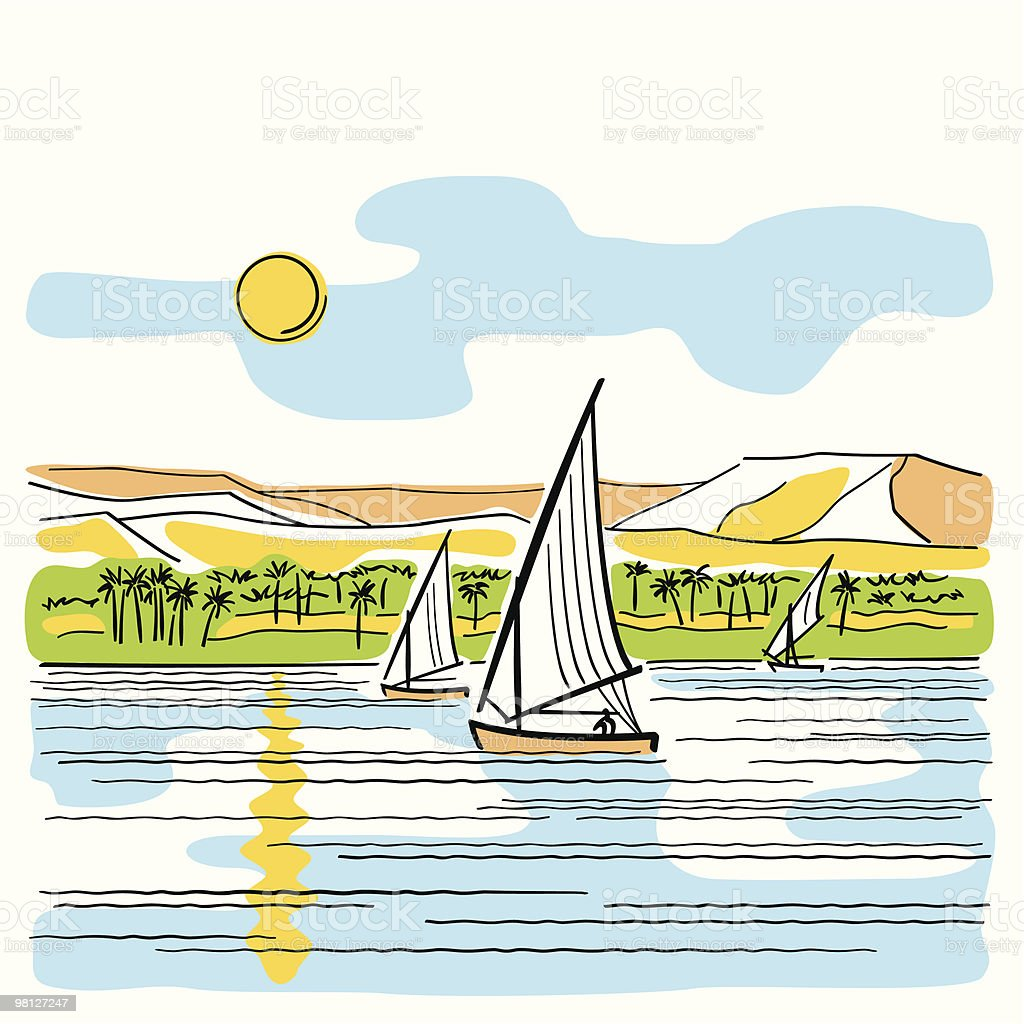 A drawing of the river Nile in Egypt royalty-free stock vector art