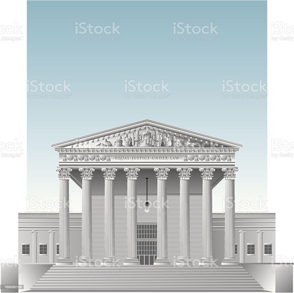 Drawing of the US Supreme Court vector art illustration