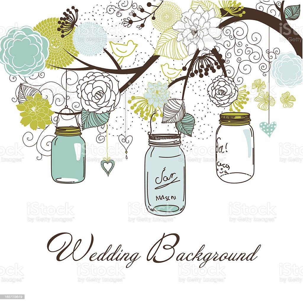 Drawing of three mason jars hanging from a tree royalty-free stock vector art