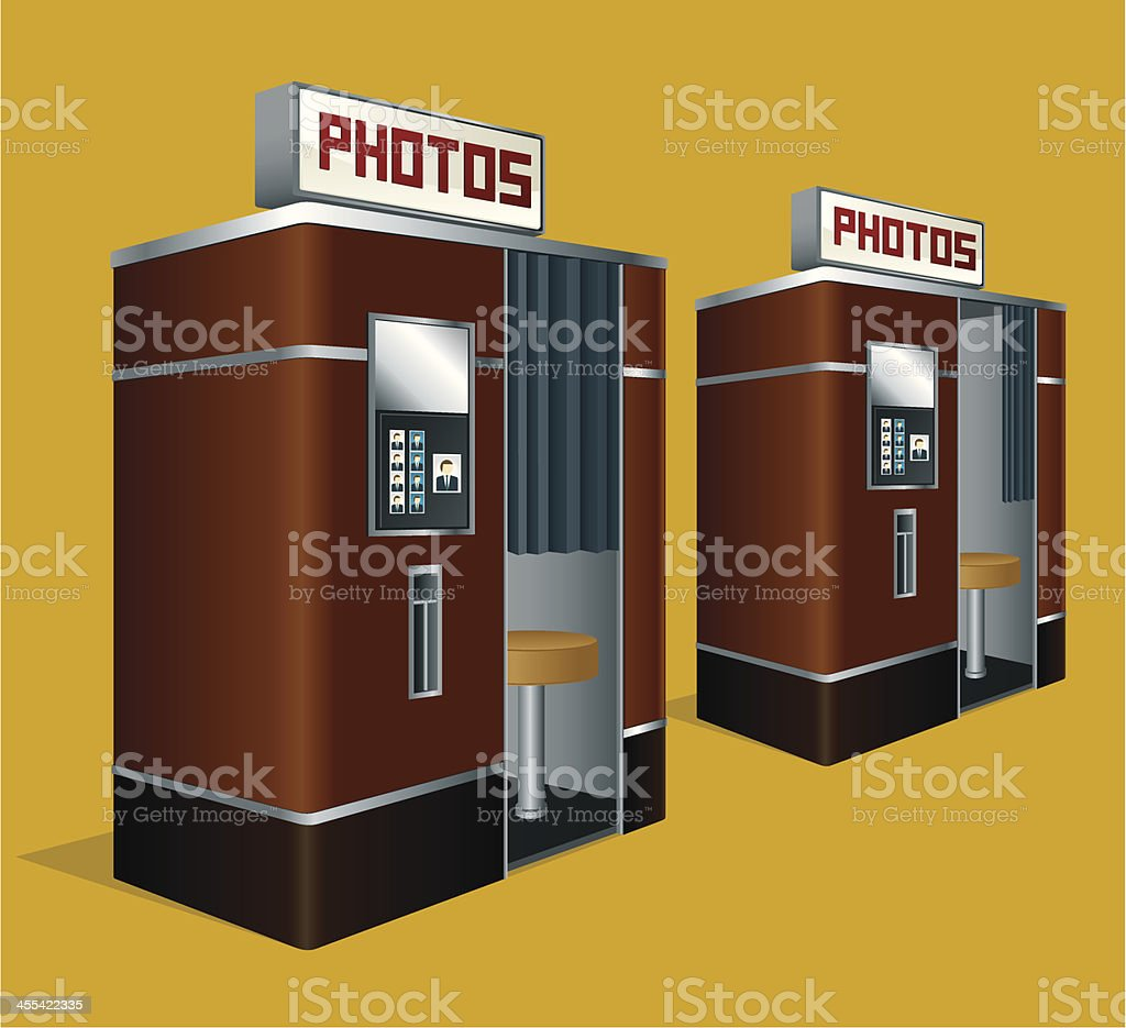 Drawing of two retro looking photo booths vector art illustration