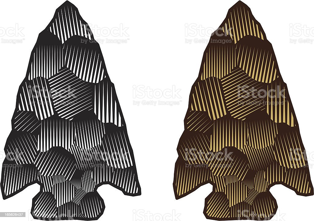 Drawing of two spearheads, one silver and one gold vector art illustration