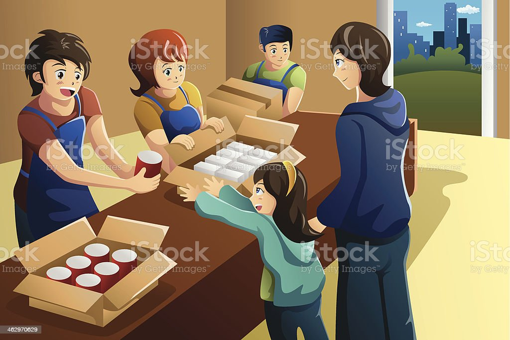 Drawing of volunteer team working at a food donation center royalty-free stock vector art