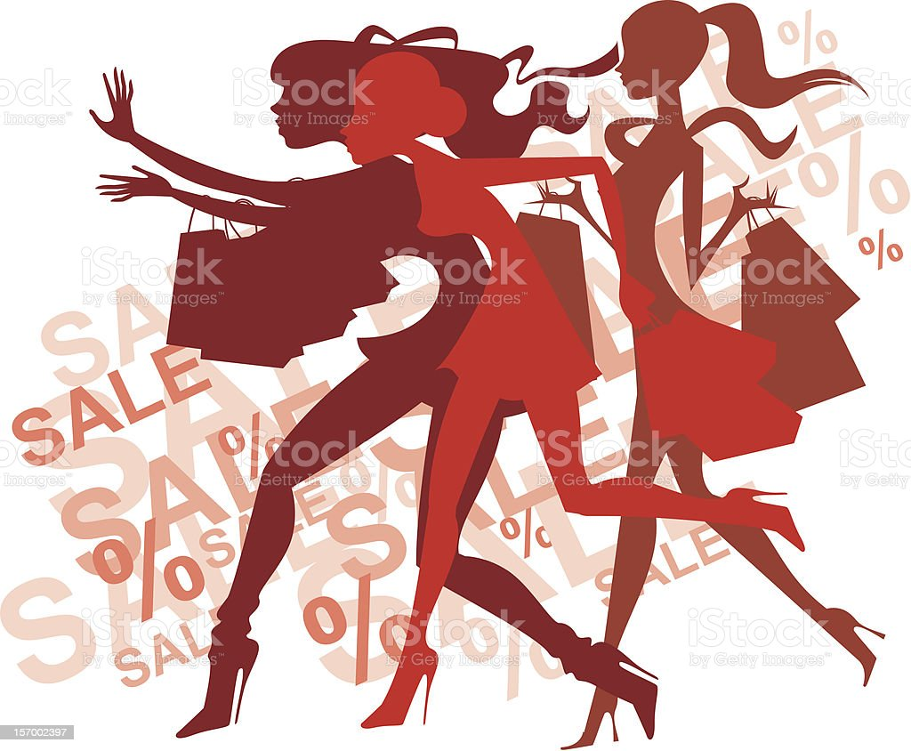Drawing of women shopping to advertise a sale vector art illustration