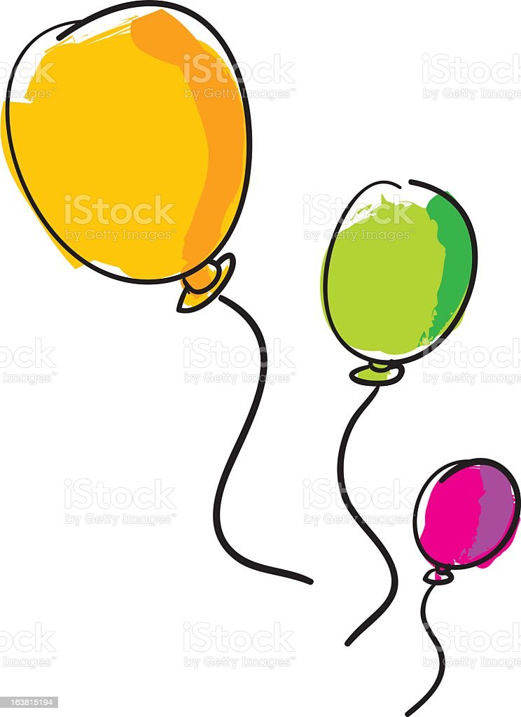 Drawing of yellow, green & pink balloons on white background royalty-free stock vector art