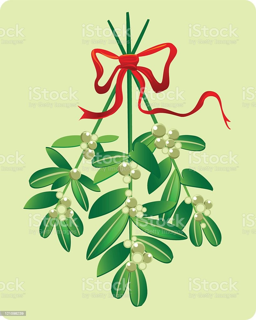 A drawing on mistletoe hanging from a red bow vector art illustration
