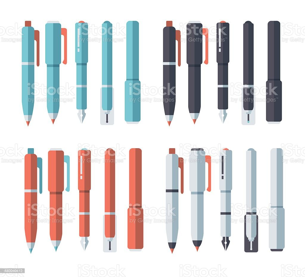 Drawing Pens & Pencils Set vector art illustration