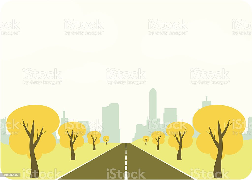 A drawing representing a drive into a city vector art illustration
