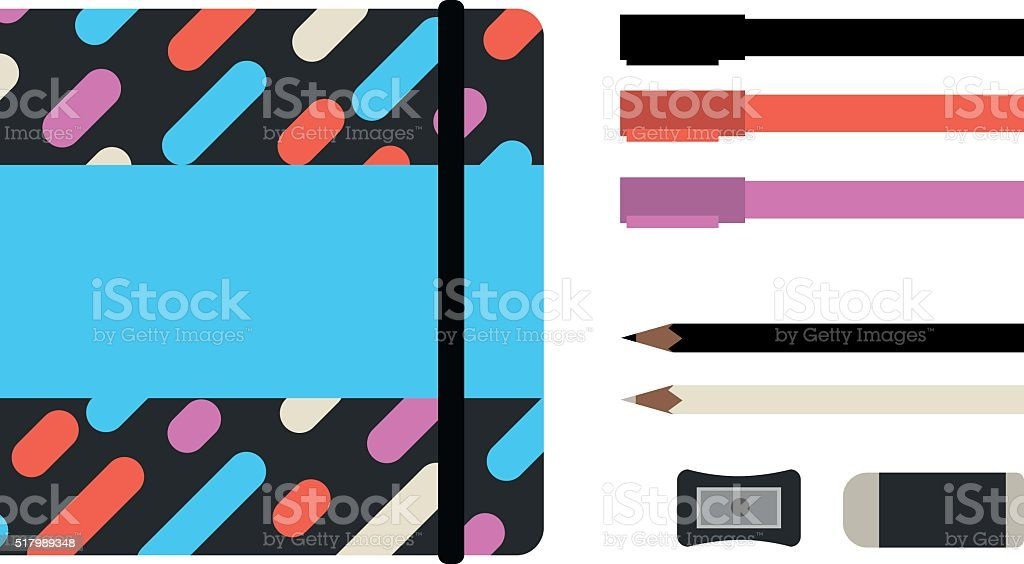 Drawing supplies with sketchbook. vector art illustration