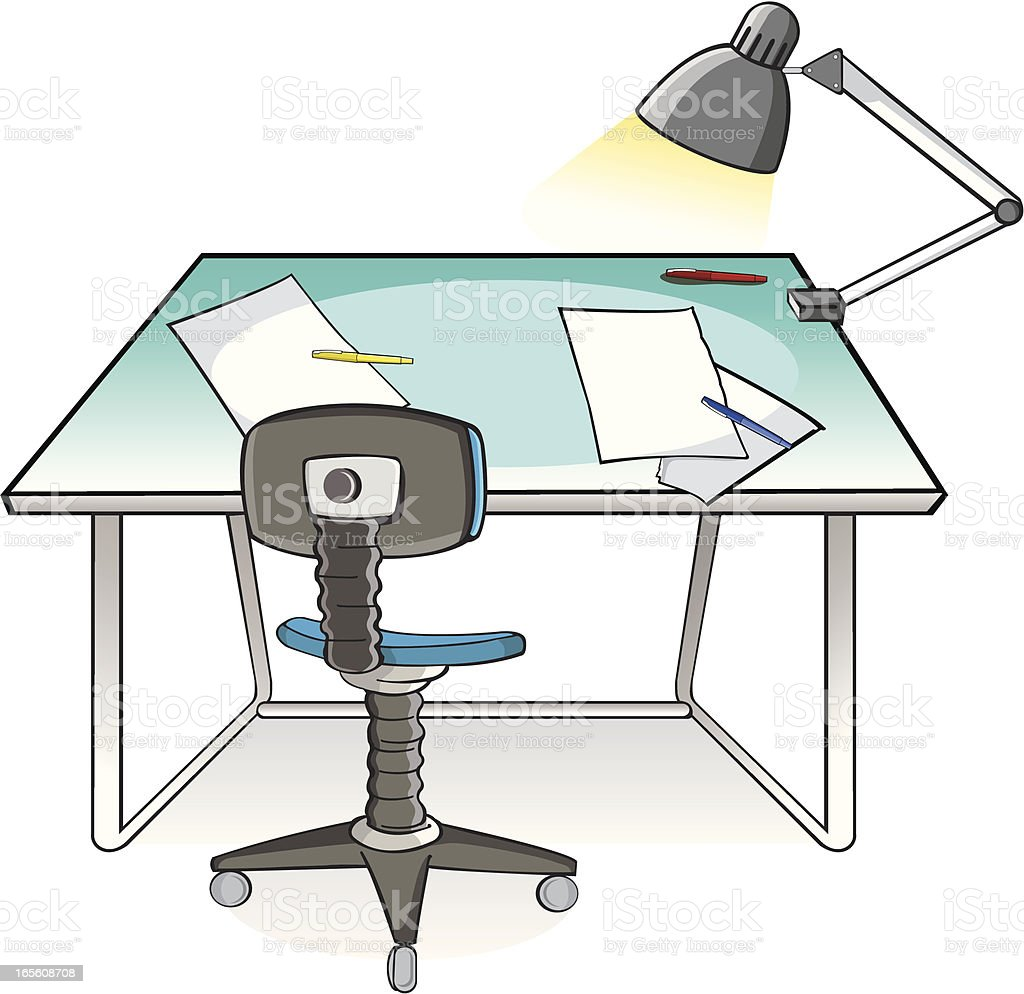 Drawing table and chair vector art illustration
