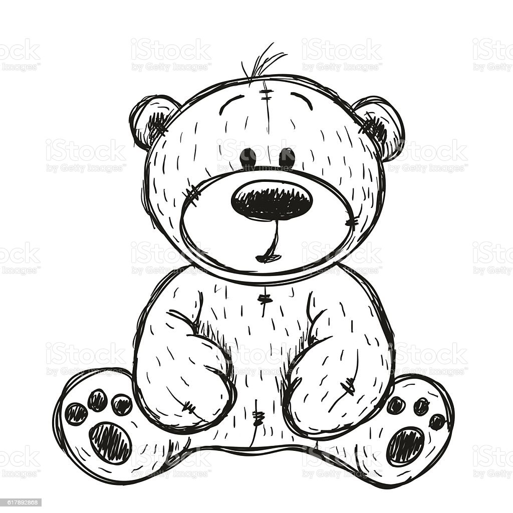 Drawing Teddy bear vector art illustration