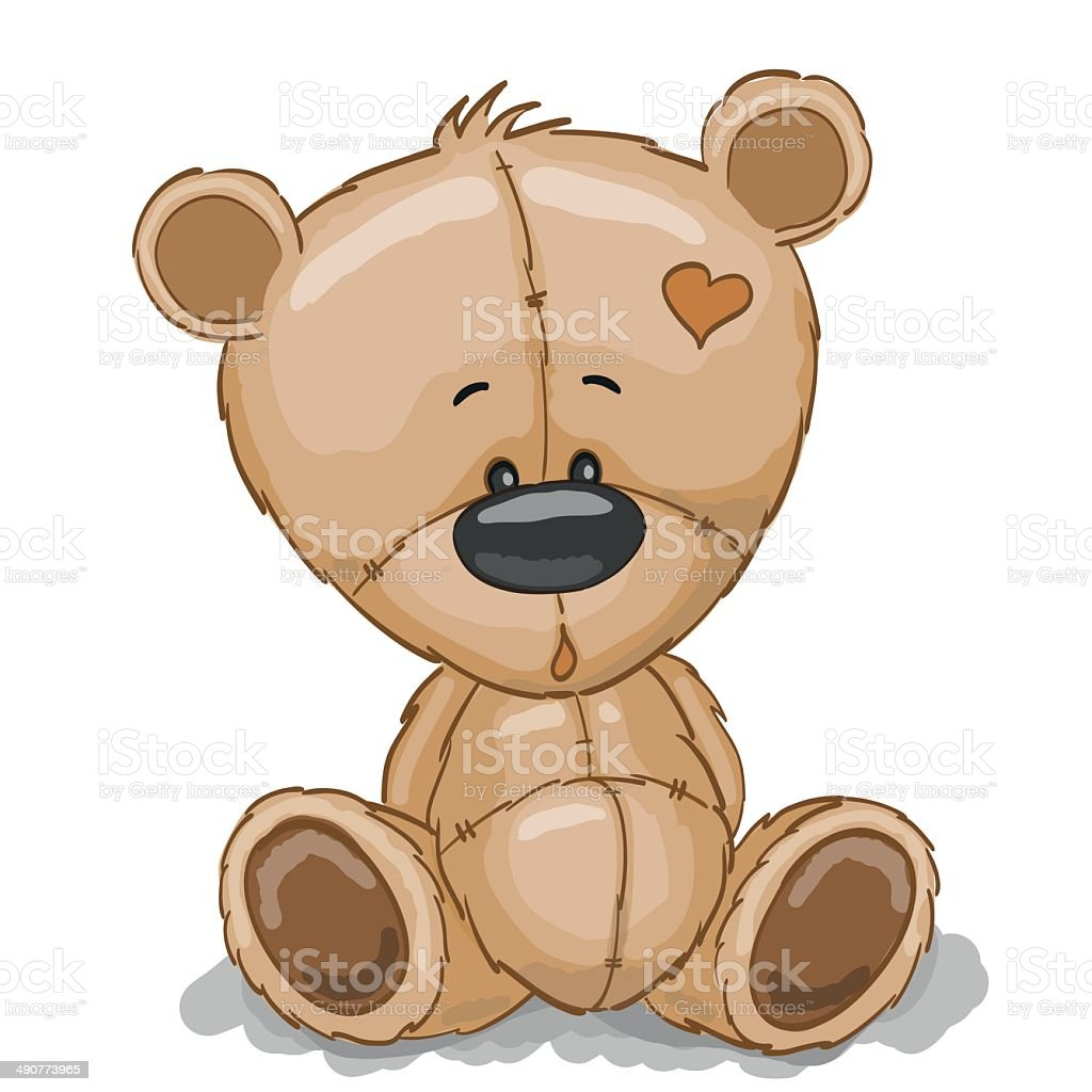 Drawing Teddy vector art illustration