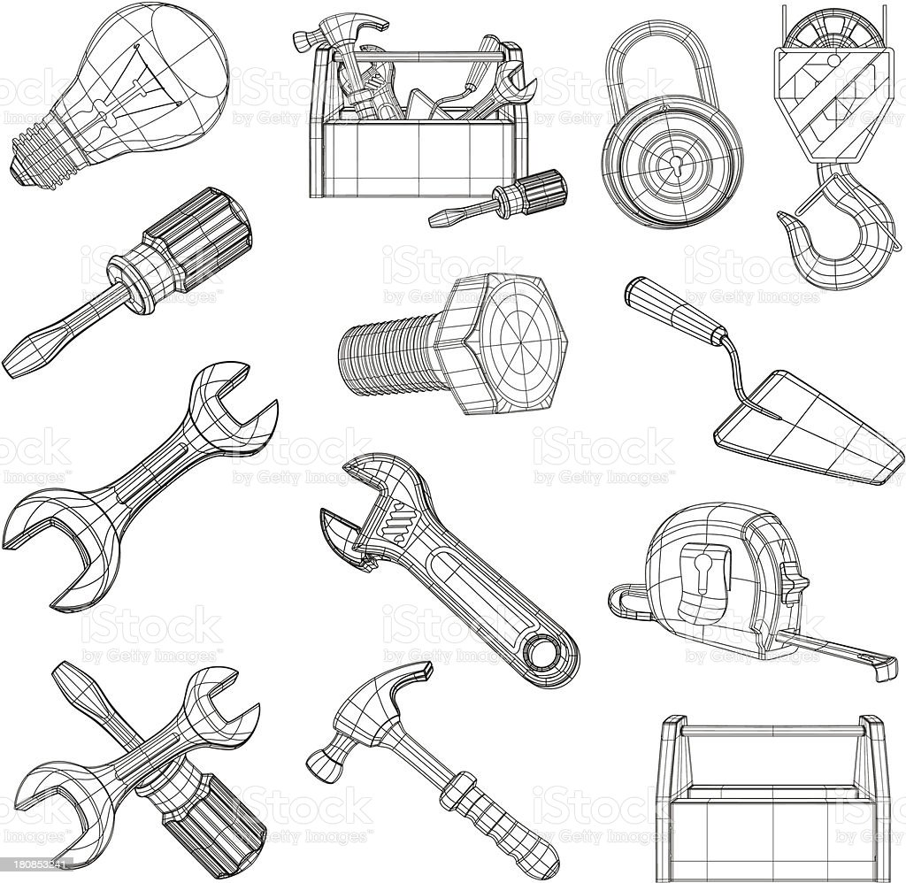 Drawing tools set vector art illustration