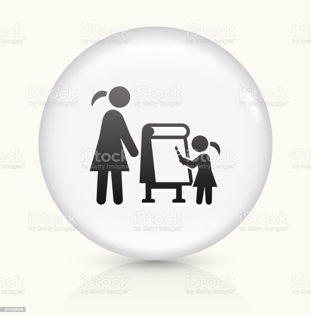 Drawing Tutor icon on white round vector button vector art illustration