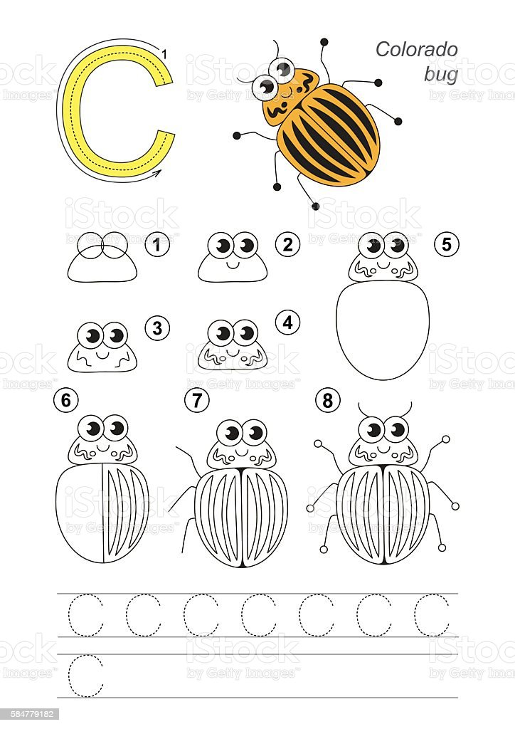 Drawing tutorial. Game for letter C. Colorado Potato Beetle. vector art illustration