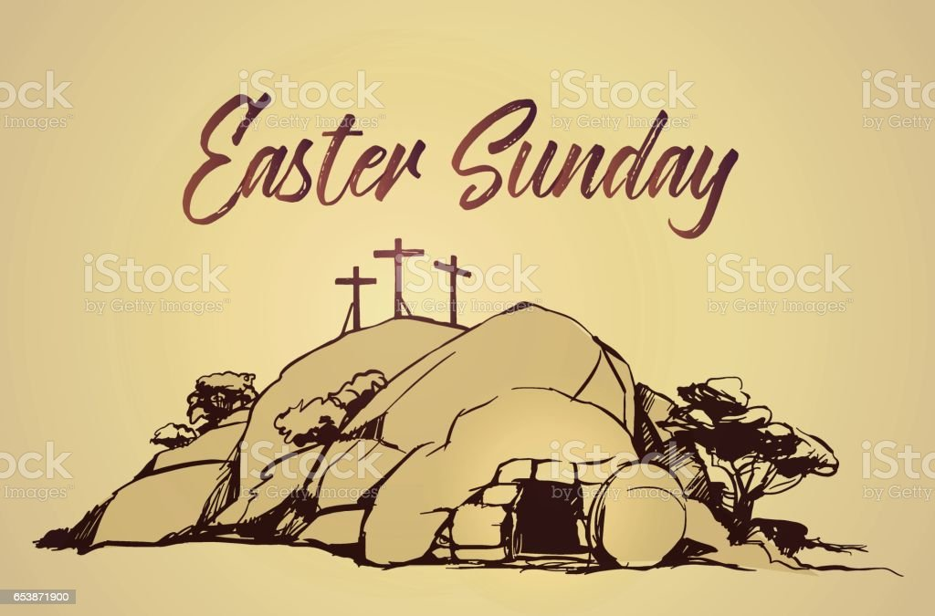 Drawing vector Calvary, Cross, cave resurrection vector art illustration