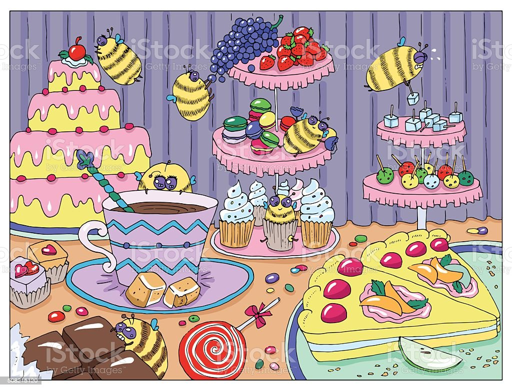 Drawing with funny bees in sweetshop vector art illustration