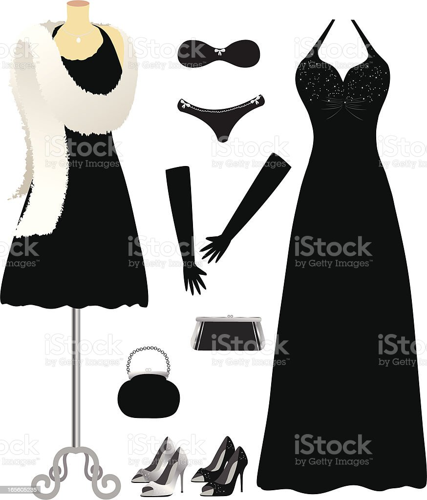 Drawings of a complete set of black formal wear for a woman vector art illustration