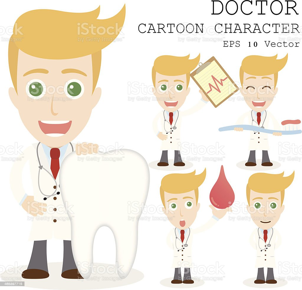 Drawings of a doctor cartoon character in various poses vector art illustration