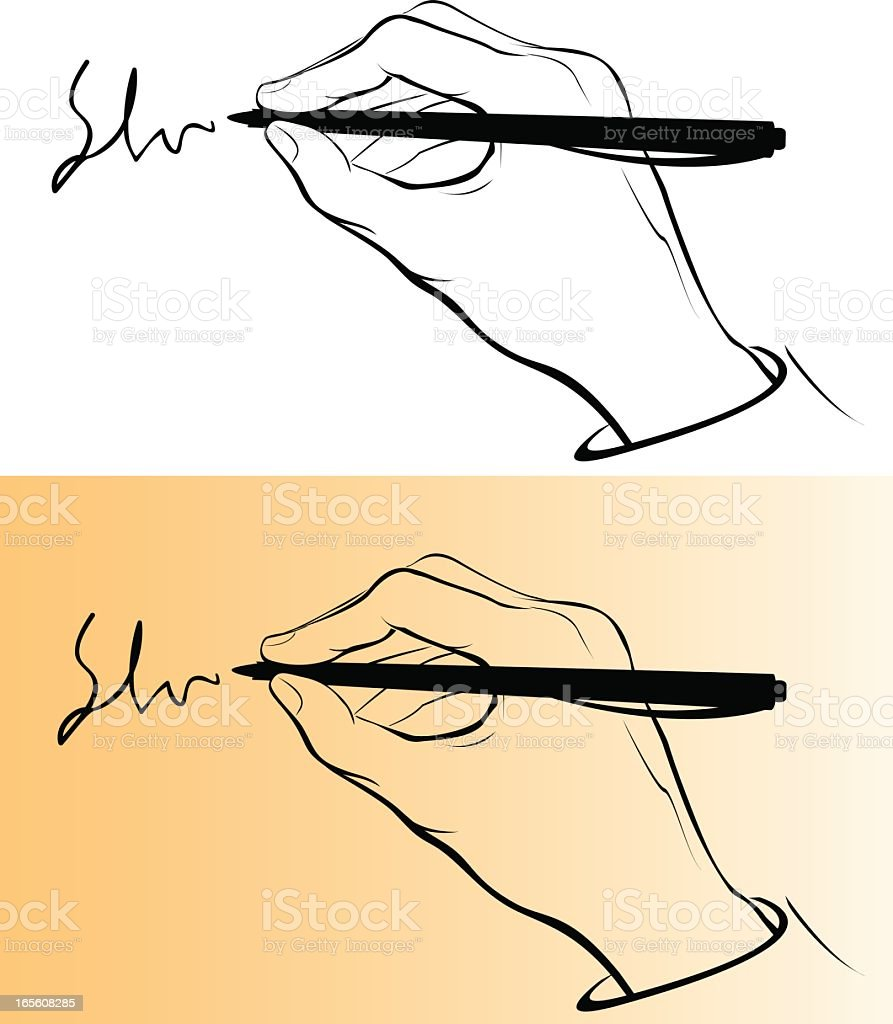 2 drawings of a hand writing in the background royalty-free stock vector art