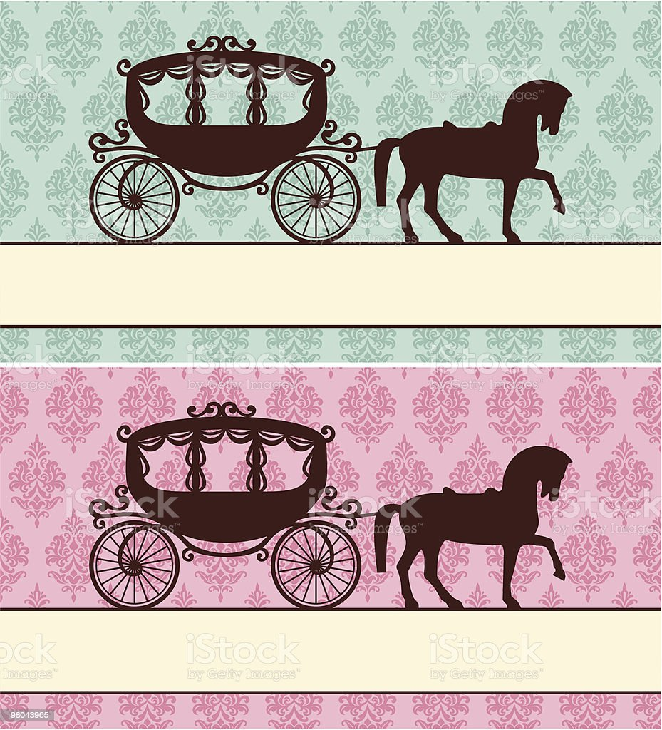 Drawings of carriages with colorful damask backgrounds royalty-free stock vector art