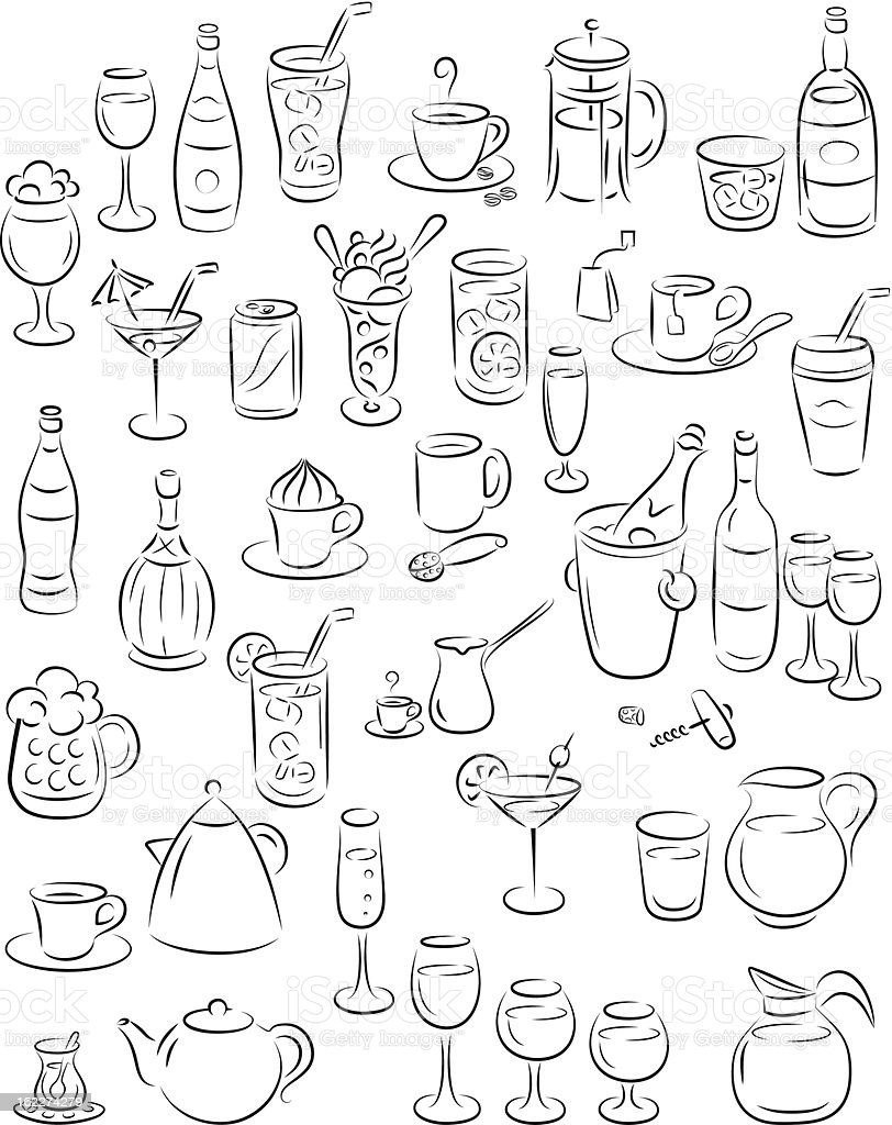 Drawings of different types of drinks vector art illustration