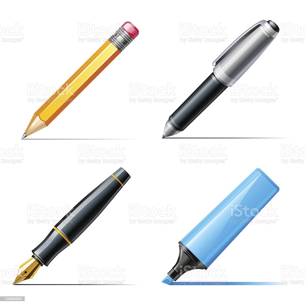 Drawings of different types of writing tools royalty-free stock vector art