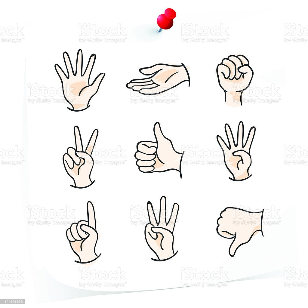drawings of hand gestures vector art illustration
