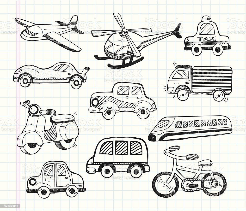 Drawings of means of transportation royalty-free stock vector art
