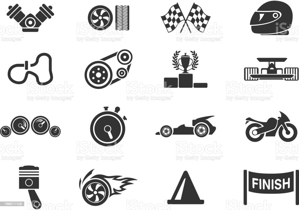 Drawings of minimalist racing icons in a blank background royalty-free stock vector art