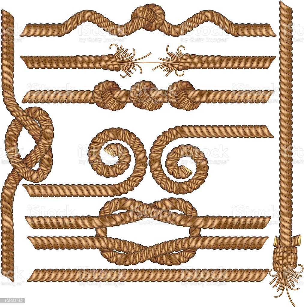 Drawings of rope borders with knots vector art illustration