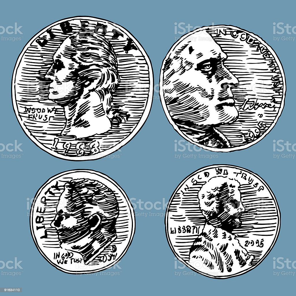 Drawings of United States coins vector art illustration