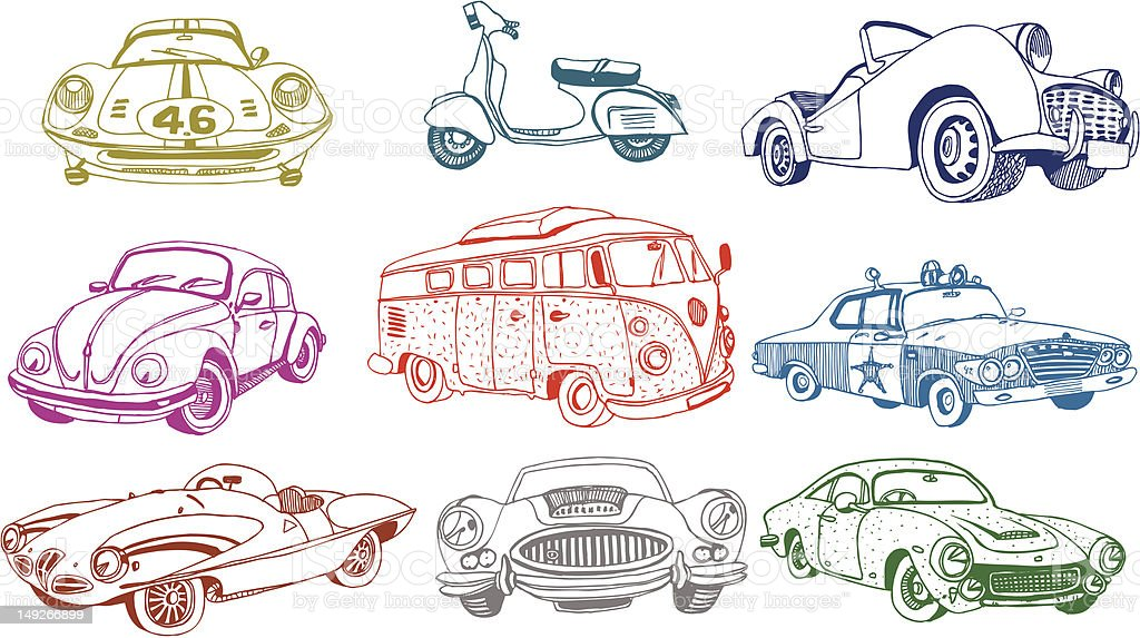 Drawings of various colored classic cars vector art illustration
