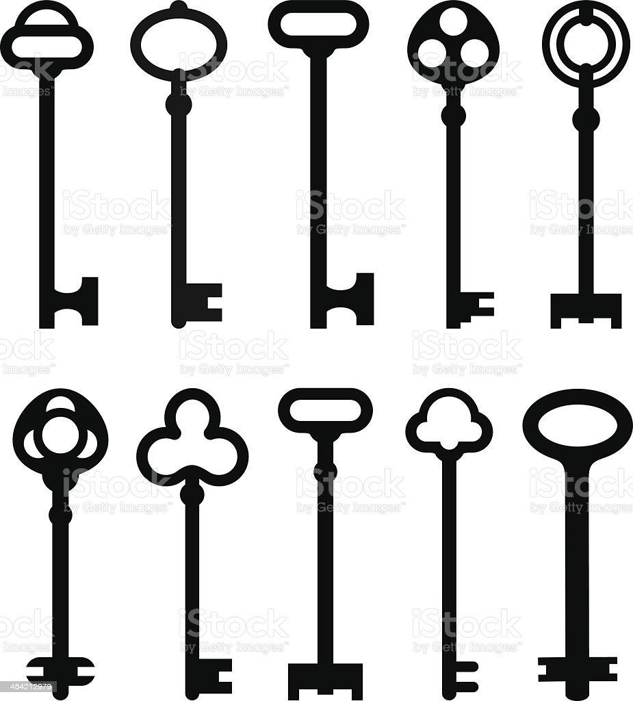 Drawings of various shapes of keys vector art illustration