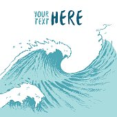 Drawn blue waves background summer sea place text