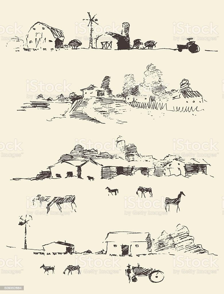 Drawn countryside rural landscapes fields hills vector art illustration