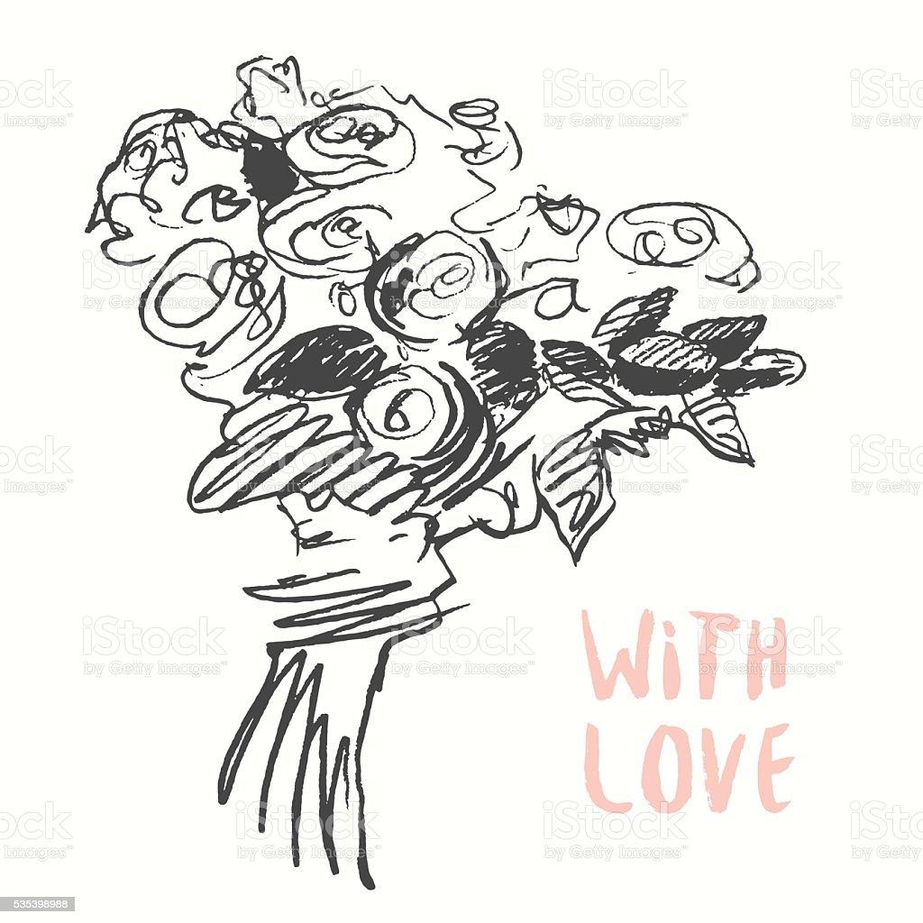 Drawn floral bouquet vintage vector sketch vector art illustration