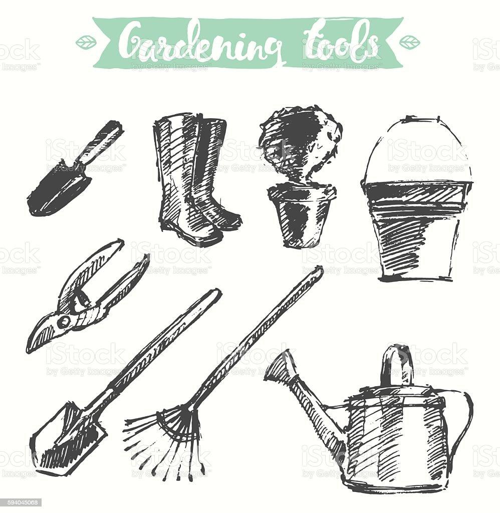Drawn gardening tools vector illustration, sketch. vector art illustration