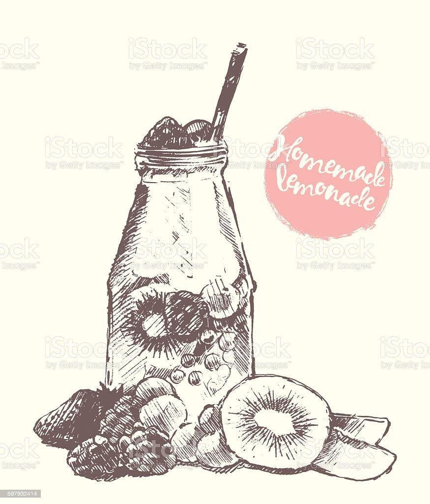 Drawn homemade lemonade vector sketch. vector art illustration
