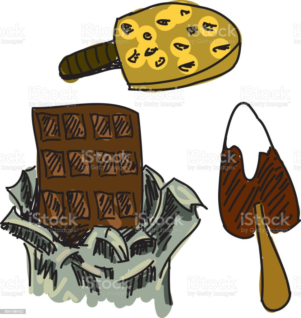 Drawn icons of ice cream vector art illustration