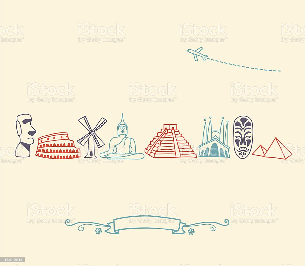 Drawn international landmark and travel icons in colors royalty-free stock vector art