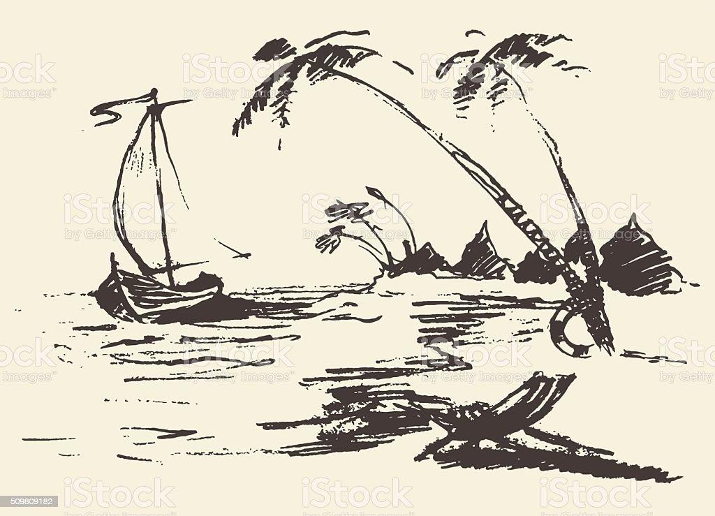 Drawn landscape seaside view beach boat vector vector art illustration