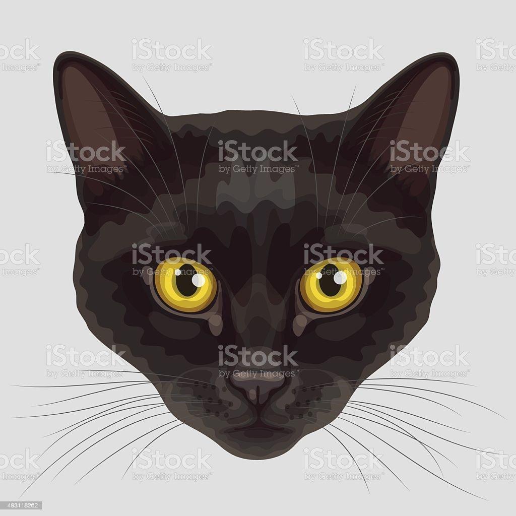 Drawn muzzle of black cat vector art illustration