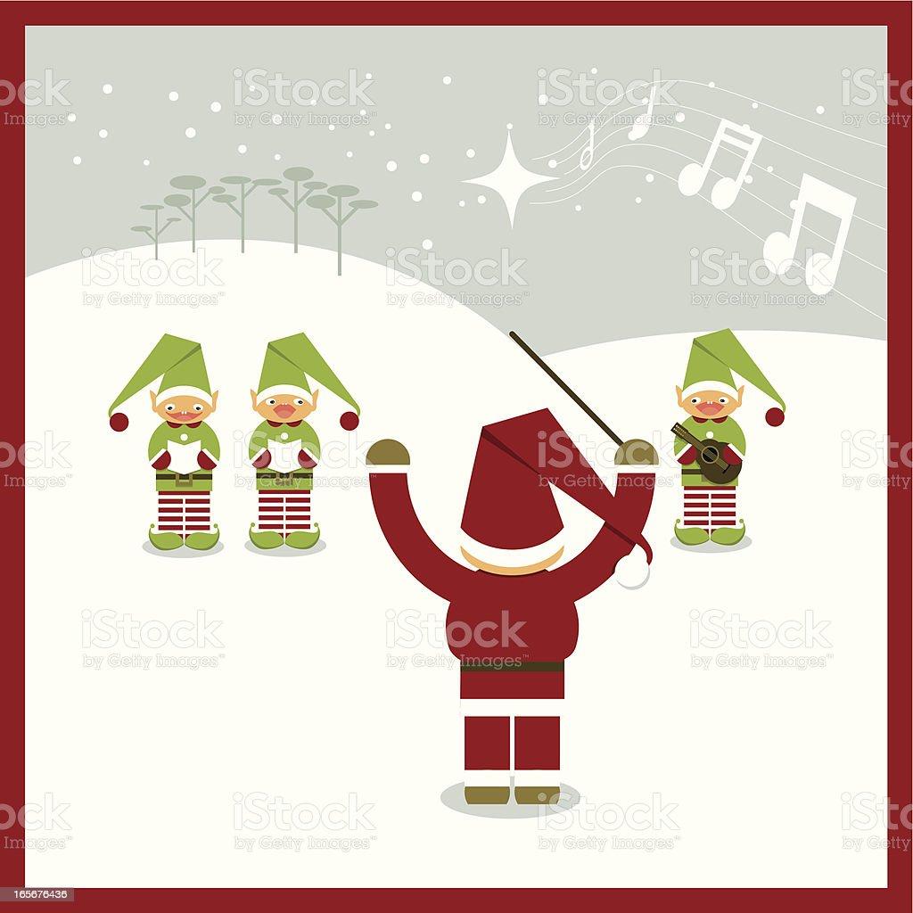 Drawn picture of Santa and elves singing Christmas carols vector art illustration