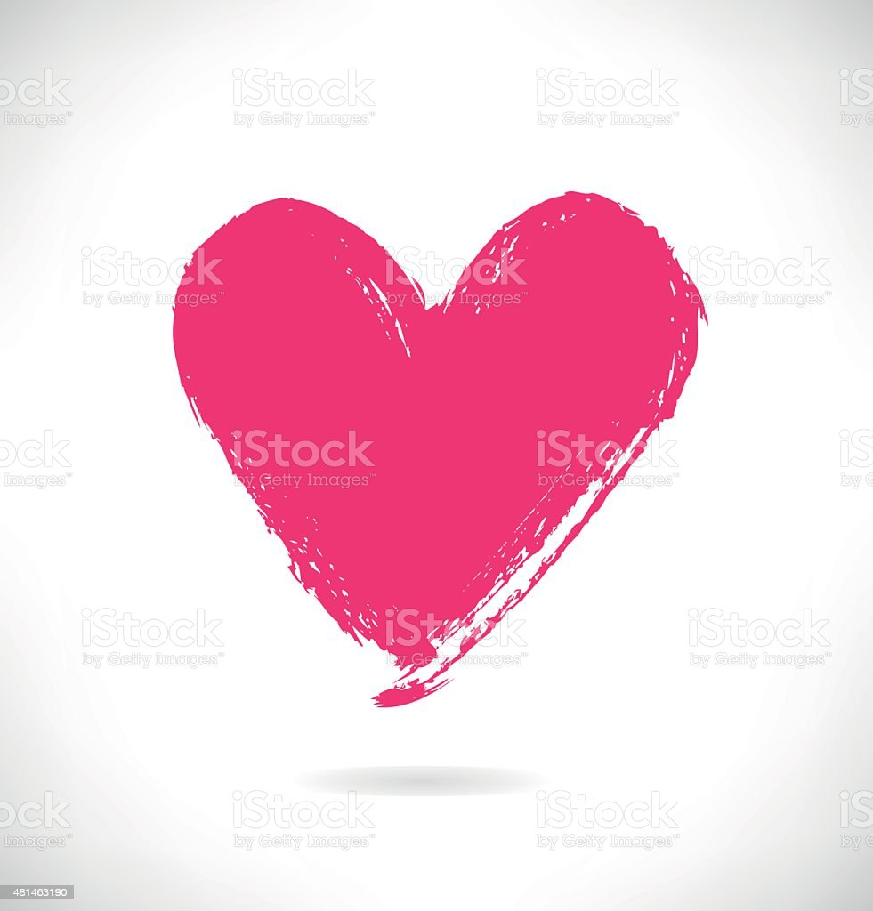 Drawn pink heart silhouette on white background vector art illustration