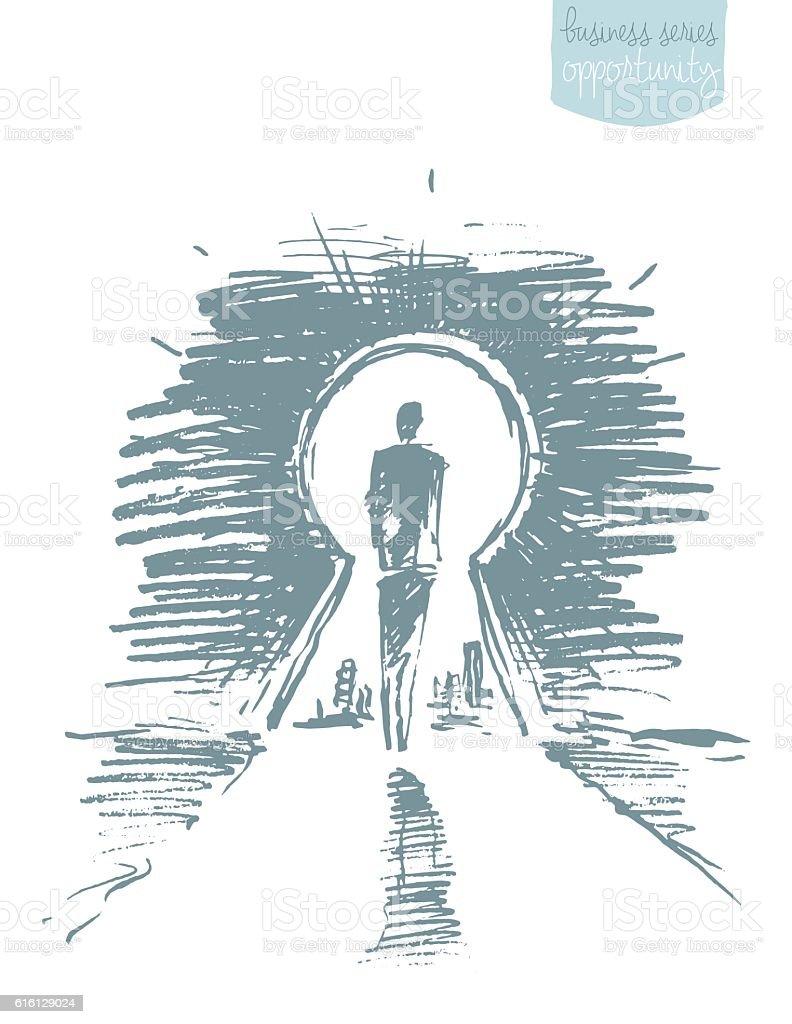 Drawn vector man standing open keyhole sketch vector art illustration