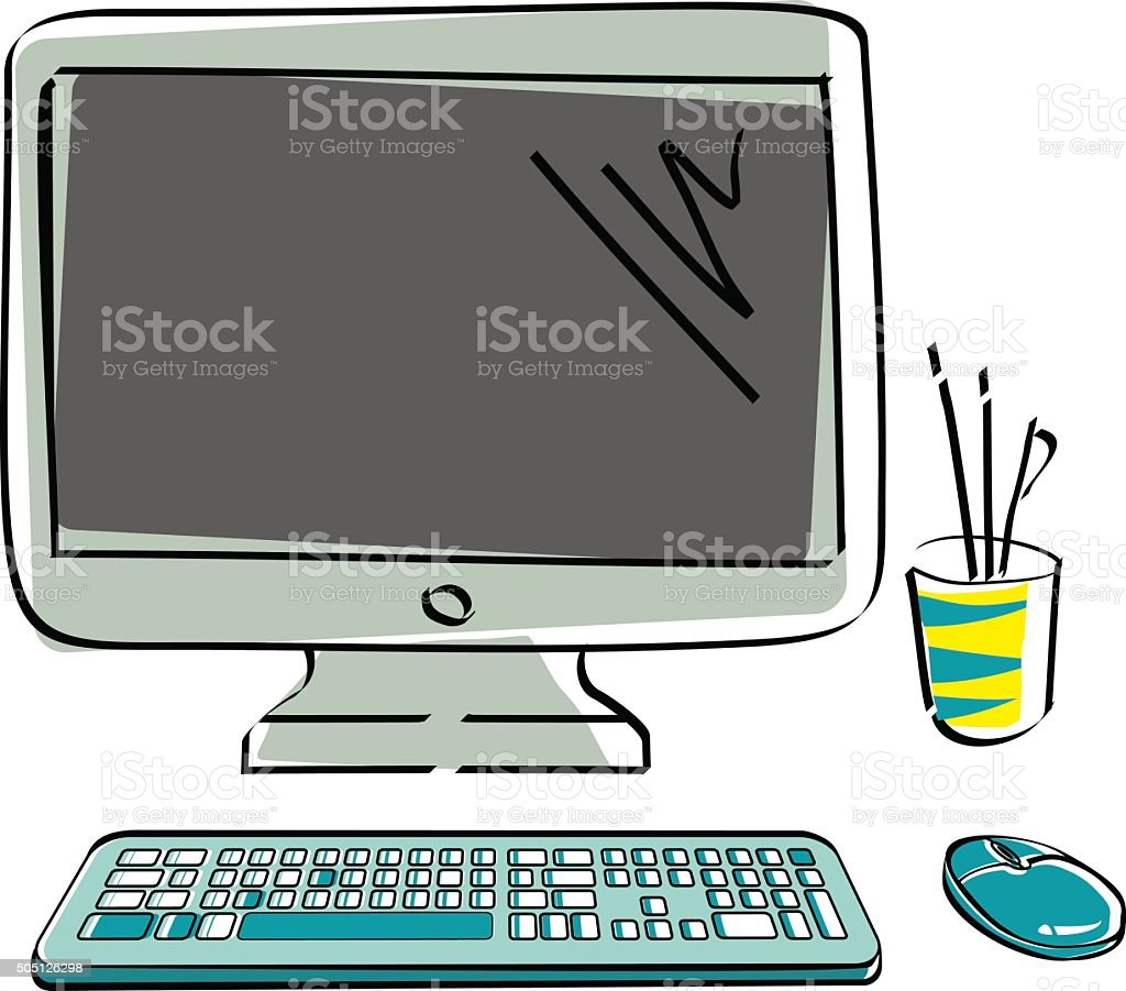 Drawn vector monitor with keyboard and mouse. Computer hardware vector art illustration