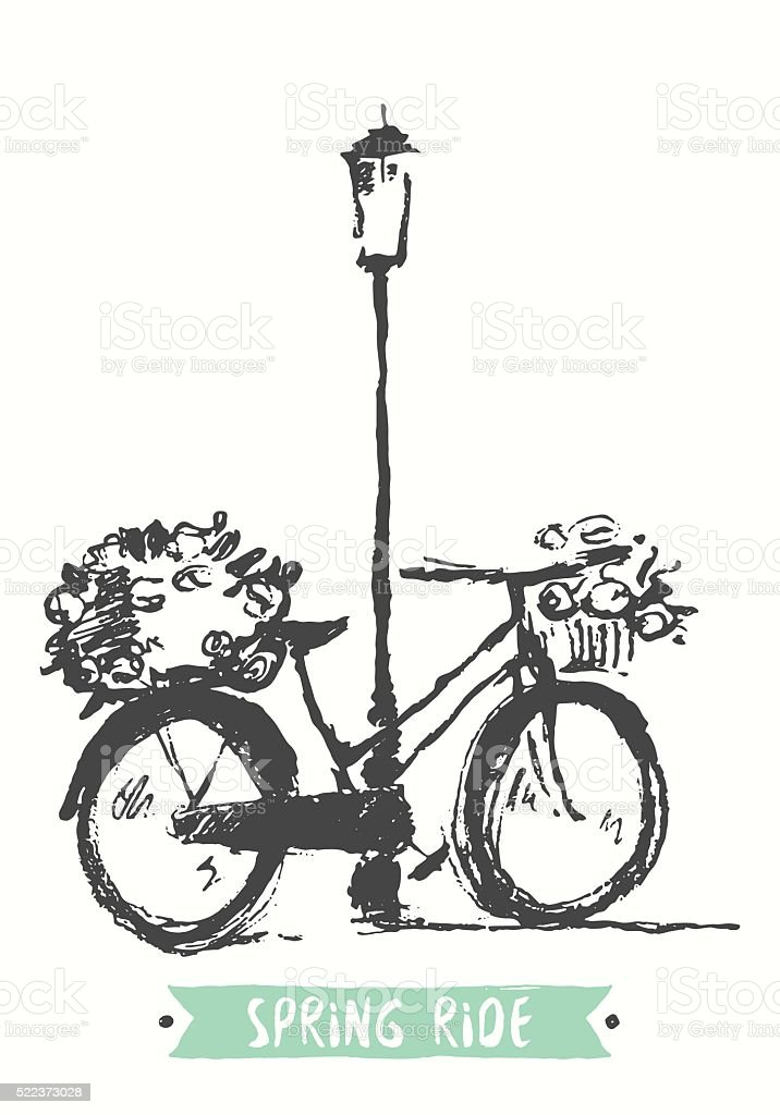 Drawn vintage bicycle vector illustration sketch vector art illustration