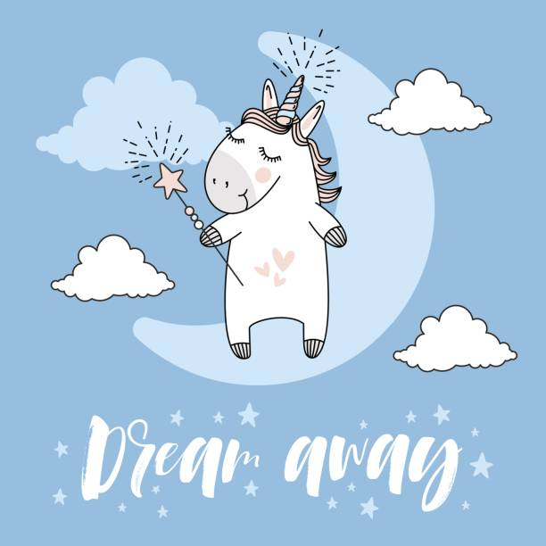 Dream Away Typography And Unicorn Illustration Vector Art